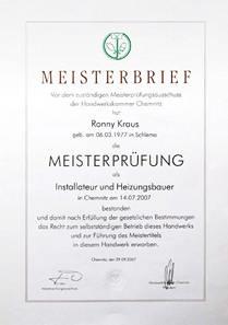 Meisterbrief - Ronny Kraus - Installateur und Heizungsbauer
