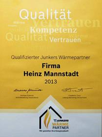 Zertifikat - qualifizierter Junkers Wärmepartner